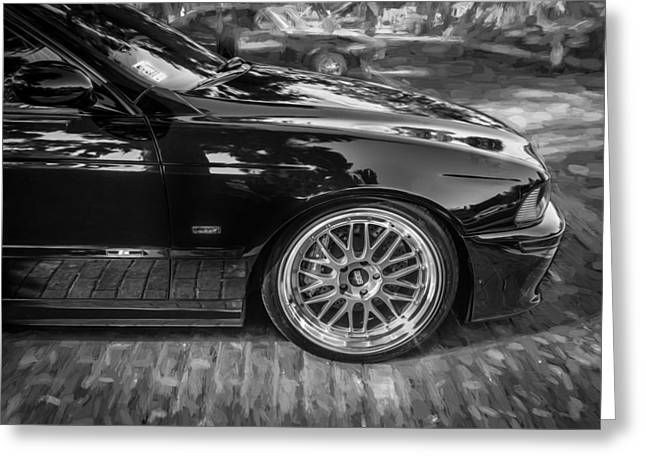 Accelerate Greeting Cards - 1999 BMW 528i Sports Car Painted BW   Greeting Card by Rich Franco