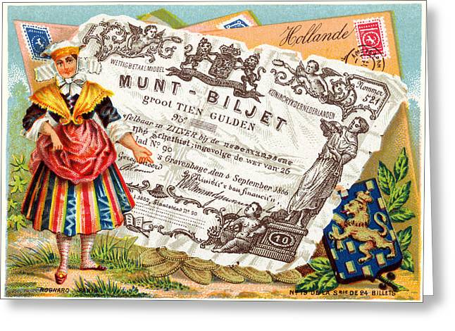 19th C. Dutch Commerce And Culture Greeting Card by Historic Image