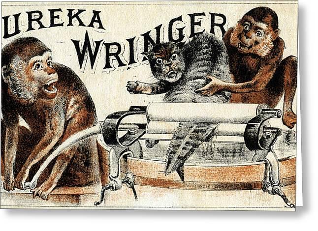Eureka Paintings Greeting Cards - 19th C. Eureka Wringer Greeting Card by Historic Image