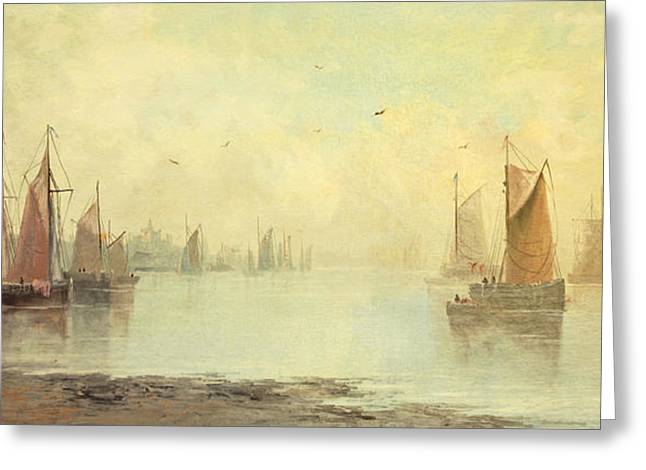 Foggy Beach Paintings Greeting Cards - 19th c Venetian Harbor Painting Greeting Card by Paul Ashby Antique Paintings