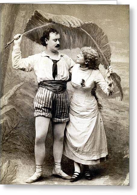 19th C. Young Couple In Love Greeting Card by Historic Image