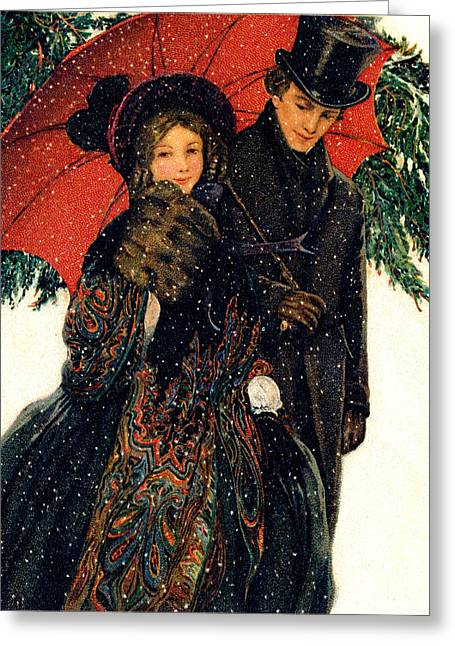 19th C. Young Couple In Winter Greeting Card by Historic Image