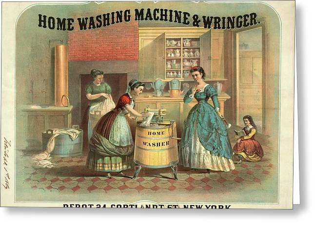 19th Century Advert For A Washing Machine Greeting Card by Library Of Congress