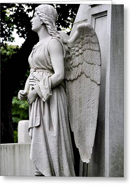Grey Robe Greeting Cards - 19th Century Angel Profile Greeting Card by Sally Rockefeller