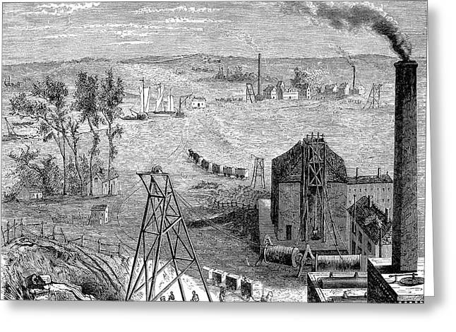 19th Century Coal Mine Greeting Card by Collection Abecasis