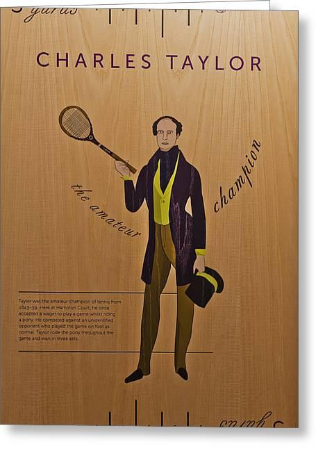 Racquet Greeting Cards - 19th Century Tennis Player 3 Greeting Card by Maj Seda