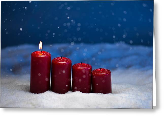 Candle Lit Greeting Cards - 1st Advent Greeting Card by Ulrich Schade