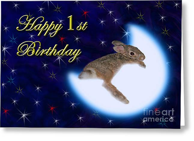 Wildlife Celebration Greeting Cards - 1st Birthday Bunny Rabbit Greeting Card by Jeanette K