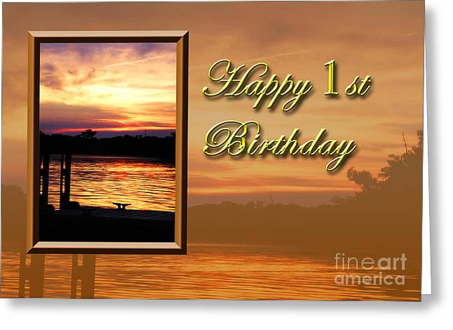 Wildlife Celebration Greeting Cards - 1st Birthday Pier Greeting Card by Jeanette K