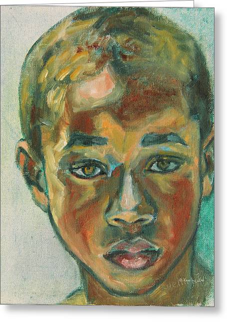 African-americans Greeting Cards - 1st Day at School Greeting Card by Xueling Zou