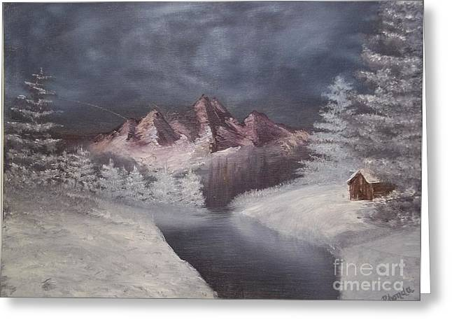 Bob Ross Paintings Greeting Cards - 1st Painting 2-27-1991 Greeting Card by Rhonda Lee