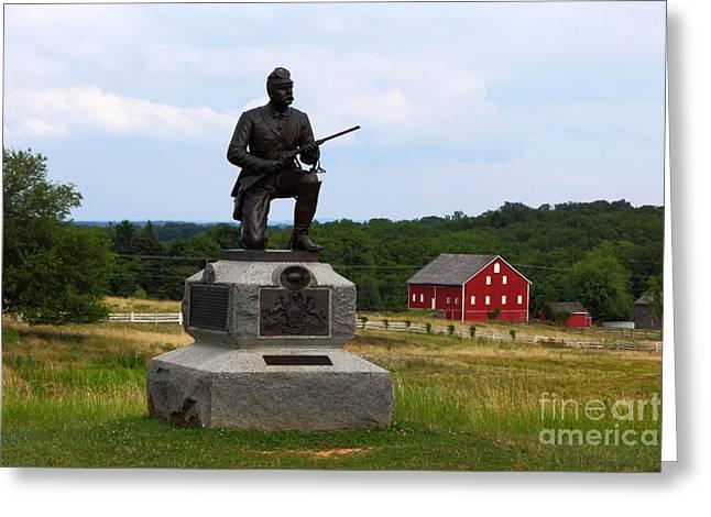 1st Pennsylvania Cavalry Defending Cemetery Ridge Greeting Card by James Brunker