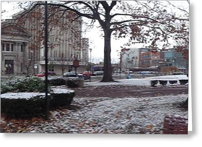 Streetlight Greeting Cards - 1st Snow Public Square Greeting Card by Christina Verdgeline