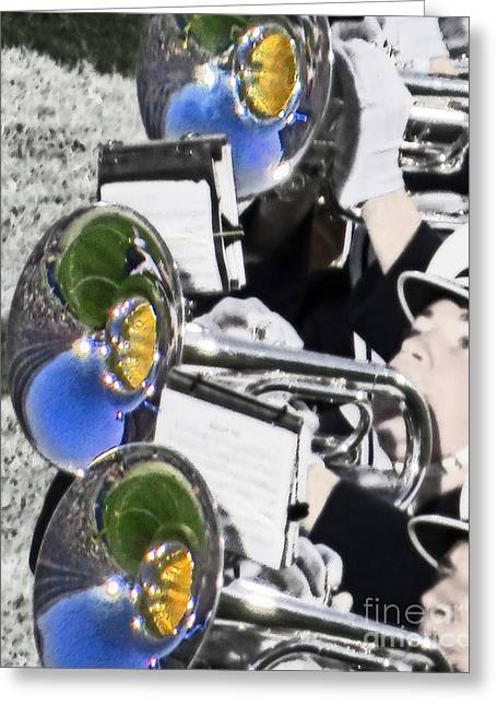 Marching Band Greeting Cards - Mellophones On The Field Greeting Card by Tom Gari Gallery-Three-Photography
