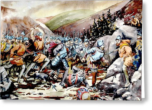 Mchugh Greeting Cards -  Battle of Glenmalure  1580  Wicklow Greeting Card by Val Byrne