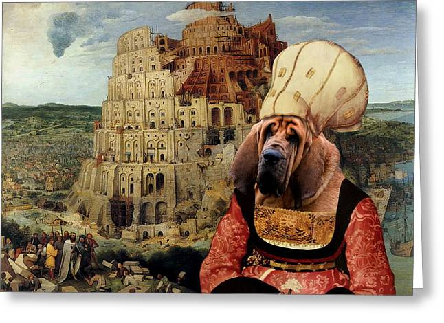 Bloodhounds Greeting Cards -  Bloodhound Art Canvas Print  Greeting Card by Sandra Sij