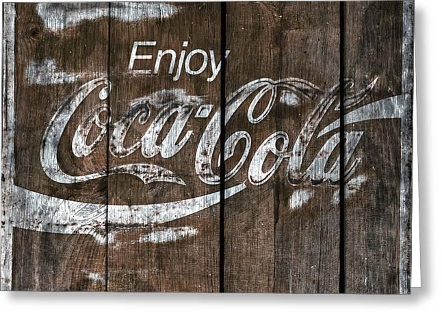 Coca Cola Sign Barn Wood Greeting Card by John Stephens