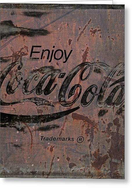 Closeup Coke Sign Greeting Cards -  Coca Cola Sign Grungy Retro Style Greeting Card by John Stephens