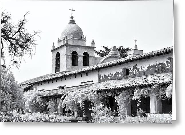 Buildings By The Sea Greeting Cards -  Facade of the chapel Mission San Carlos Borromeo de Carmelo Greeting Card by Ken Wolter