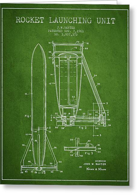 Rocket Greeting Cards -  Rocket Launching Unit Patent from 1961 Greeting Card by Aged Pixel