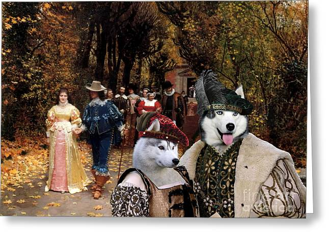 Husky Art Greeting Cards -  Siberian Husky Art Canvas Print  Greeting Card by Sandra Sij