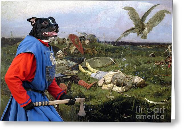 Staffordshire Bull Terrier Greeting Cards -  Staffordshire Bull Terrier Art Canvas Print Greeting Card by Sandra Sij