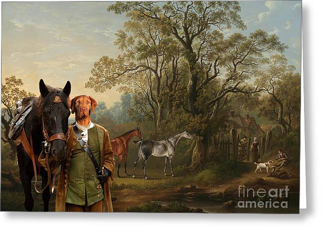 Magyar Vizsla Greeting Cards -  Wirehaired Vizsla - Hungarian Vizsla Art Canvas Print Greeting Card by Sandra Sij