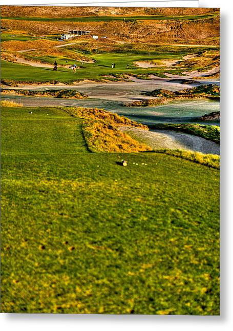 Us Open Greeting Cards - #18 at Chambers Bay Golf Course - Location of the 2015 U.S. Open Tournament Greeting Card by David Patterson