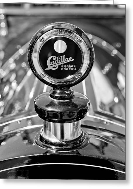 Vintage Hood Ornament Greeting Cards - 1911 Cadillac Roadster Hood Ornament Greeting Card by Jill Reger