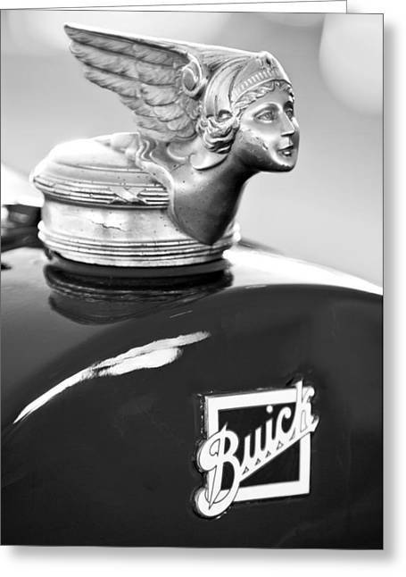 Collector Hood Ornament Greeting Cards - 1928 Buick Custom Speedster Hood Ornament Greeting Card by Jill Reger