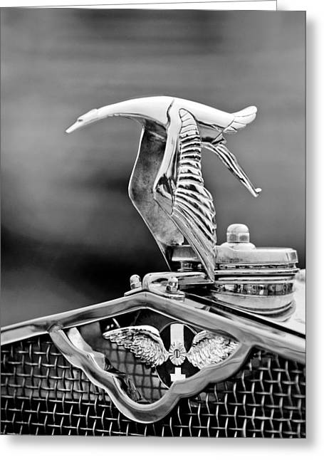 Suiza Greeting Cards - 1930 Hispano-Suiza H6C Kellner Transformable Hood Ornament Greeting Card by Jill Reger