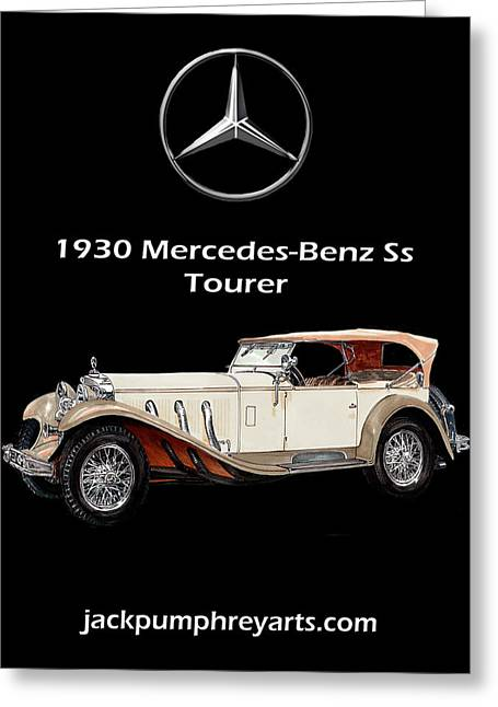 Feeding Mixed Media Greeting Cards - 1930 Mercedes Benz SS Tourer Greeting Card by Jack Pumphrey