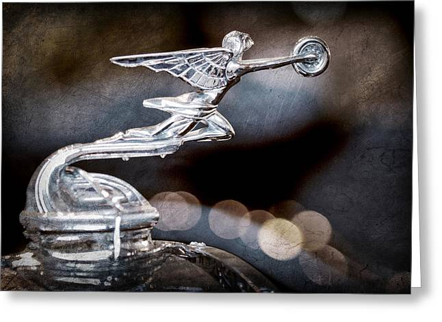 1930 Greeting Cards - 1930 Packard Model 733 Convertible Coupe Hood Ornament Greeting Card by Jill Reger