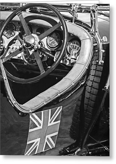Supercharged Greeting Cards - 1931 Bentley 4.5 Liter Supercharged Le Mans Steering Wheel -1255BW Greeting Card by Jill Reger