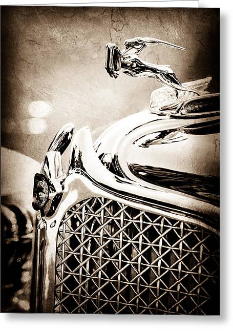 Cowl Greeting Cards - 1931 Chrysler CG Imperial Dual Cowl Phaeton Hood Ornament - Grille Greeting Card by Jill Reger