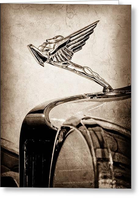 29 Greeting Cards - 1931 Cord L-29 LeGrande Speedster Hood Ornament Greeting Card by Jill Reger