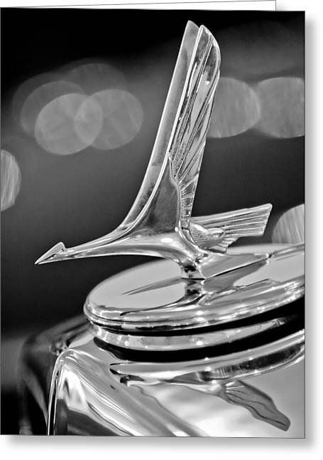 Custom Automobile Greeting Cards - 1932 Studebaker Dictator Custom Coupe Hood Ornament -0850BW Greeting Card by Jill Reger