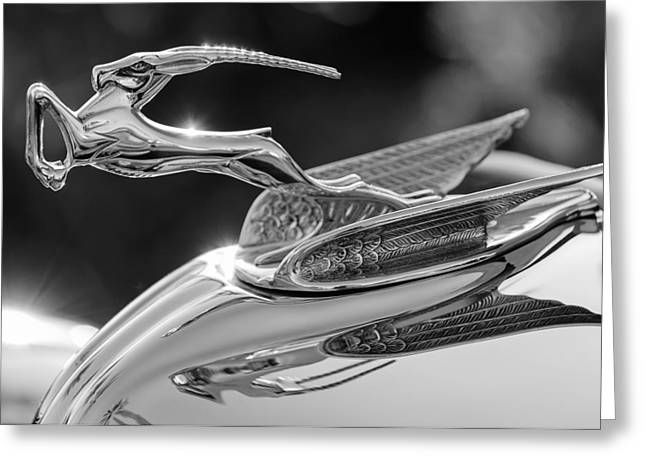 Car Mascot Greeting Cards - 1933 Chrysler Imperial Hood Ornament -0484BW Greeting Card by Jill Reger