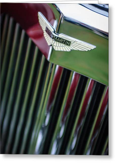 Best Images Photographs Greeting Cards - 1934 Aston Martin Mark II Short Chassis 2-4 Seater Grille Emblem Greeting Card by Jill Reger