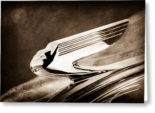 1936 Greeting Cards - 1936 Chevrolet 2dr Sedan Hood Ornament Greeting Card by Jill Reger