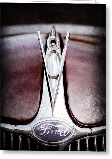 1936 Ford Phaeton V8 Hood Ornament - Emblem Greeting Card by Jill Reger