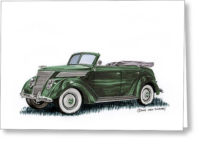 Convex Greeting Cards - 1937 Ford 4 door convertible Greeting Card by Jack Pumphrey