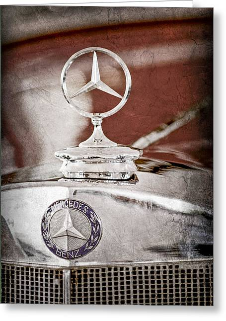Collector Hood Ornament Greeting Cards - 1937 Mercedes-Benz Cabriolet Hood Ornament - Emblem Greeting Card by Jill Reger