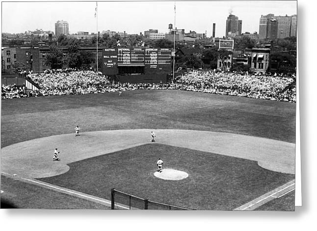 Hitting Greeting Cards - 1937 Opening Day at Wrigley Field Greeting Card by Retro Images Archive