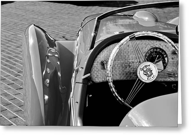 1937 Peugeot 402 Darl'Mat Legere Speacial Sport Roadster Recreation Steering Wheel Emblem Greeting Card by Jill Reger