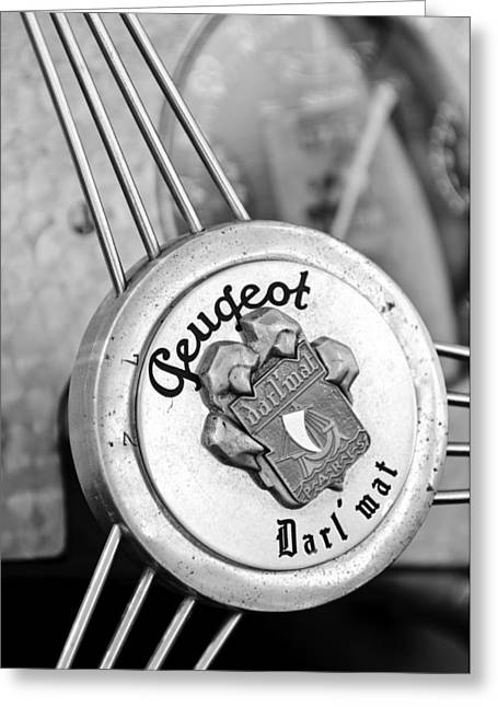 Mat Greeting Cards - 1937 Peugeot 402 Darlmat Legere Special Sport Roadster Recreation Steering Wheel Emblem Greeting Card by Jill Reger