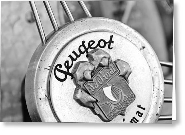 1937 Peugeot 402 Darl'mat Legere Special Sport Roadster Recreation Steering Wheel Emblem Greeting Card by Jill Reger