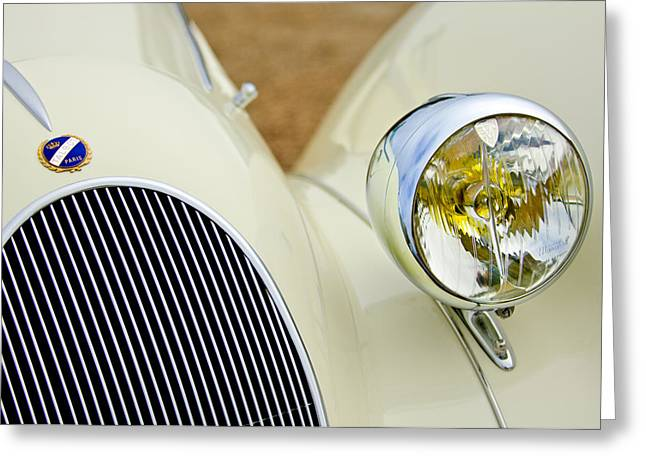 Headlight Greeting Cards - 1937 Talbot-Lago T150C Figoni and Falaschi Cabriolet Greeting Card by Jill Reger