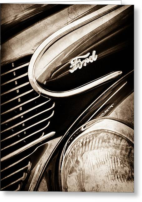Woody Wagon Greeting Cards - 1939 Ford Woody Wagon Side Emblem Greeting Card by Jill Reger