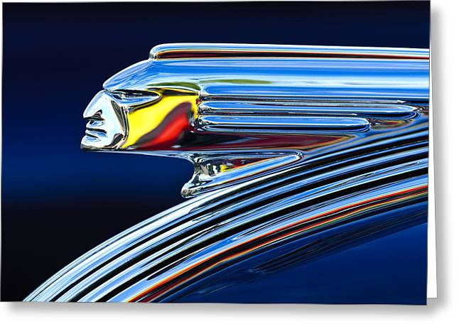 Classic Car Greeting Cards - 1939 Pontiac Silver Streak Chief Hood Ornament Greeting Card by Jill Reger